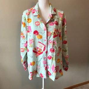 Nick & Nora Pajama Top Candy Flannel 2X